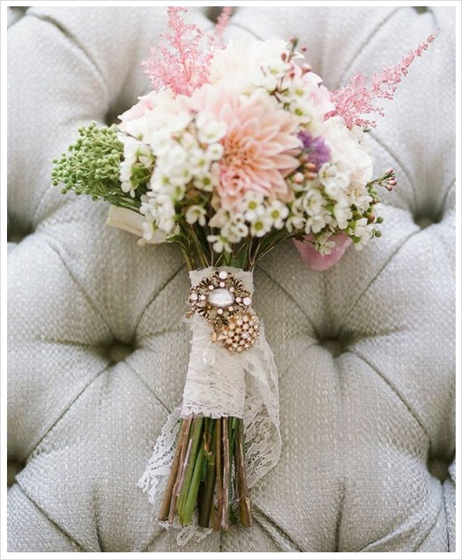 Flower Friday: Romantic Rustic Bouquets - I like the lace wrap