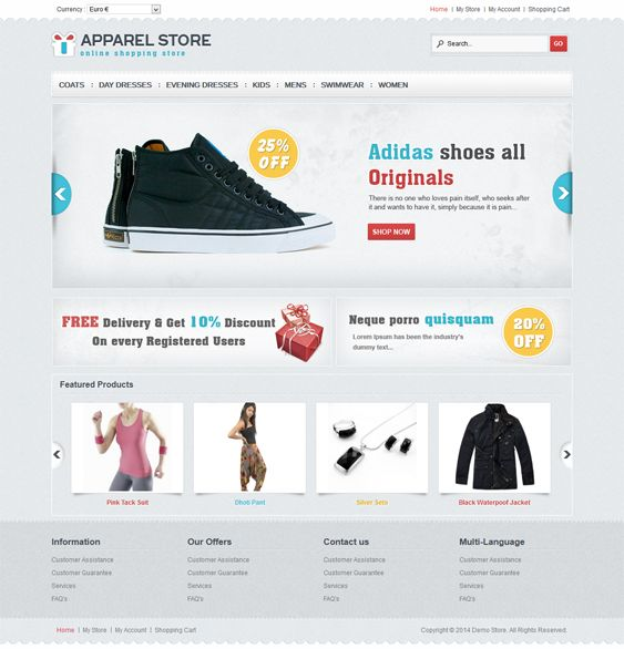 This VirtueMart template offers SEO-friendly code, 4 layout options, custom product catalog pages, easy customization, PSD files, multi-language and multi-store support, speed optimization, custom blocks, and more.