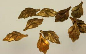 Vintage Metal Stampings: Vintage Brass Cupped Leaf Stampings