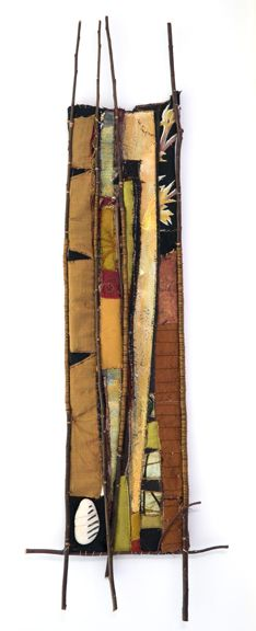 "Alice Vander Vennen: Etched Earth - 14"" X 35""; found, embellished textiles, new fabrics, willow branch, copper, copper wire, stone"