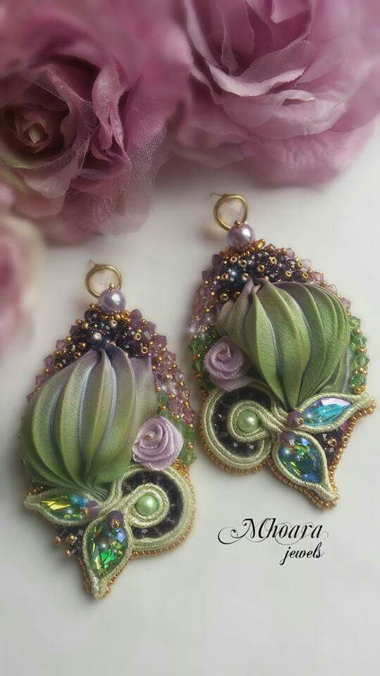 ' Cyclamen ' Mhoara Jewels Shibori silk earrings soutache silkribbon design