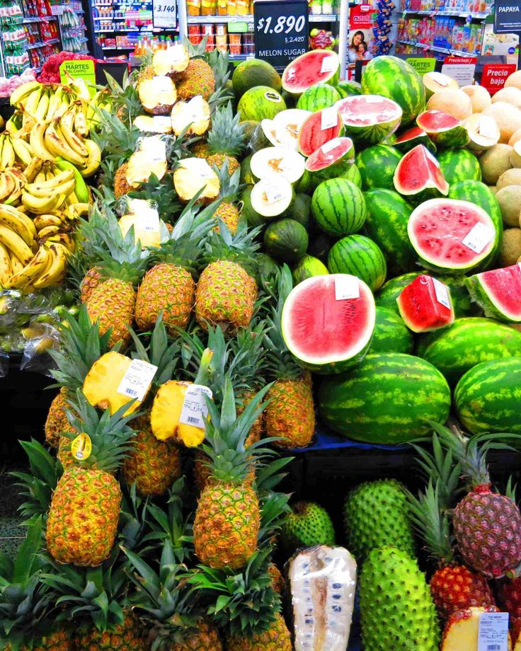 Colombian fruits (watermelon, pinneapple, banana, and some ...