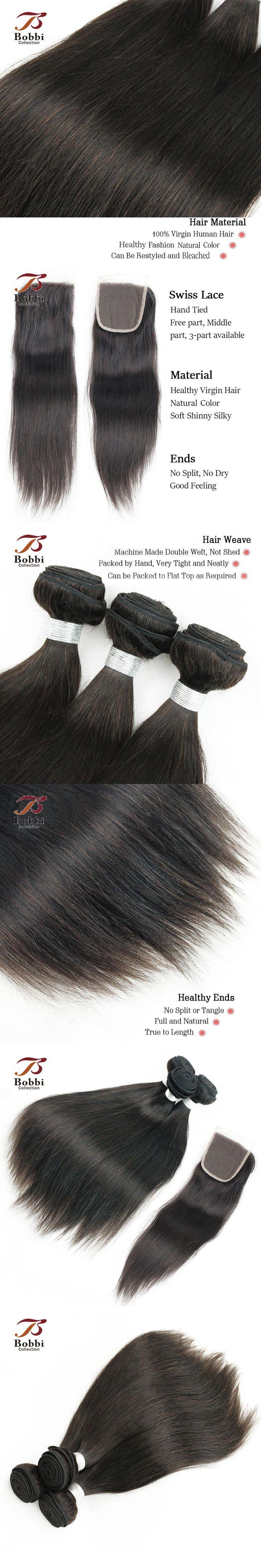 Malaysian Straight Hair Weave 3 Bundles With Closure Natural Color Malaysian Virgin Human Hair Extensions BOBBI COLLECTION