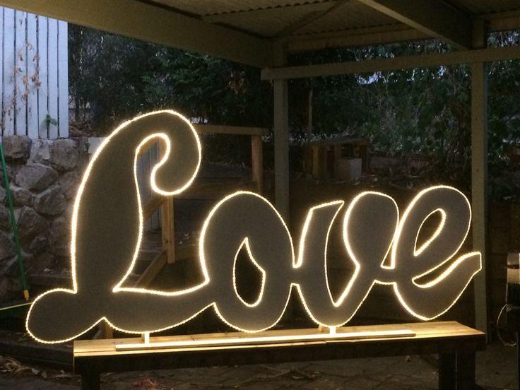 Soft love free standing wedding sign