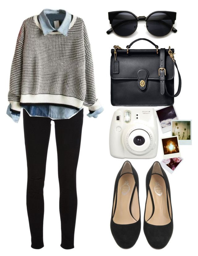 """Sixth form outfit-Comfortable"" by catrionablw on Polyvore featuring Polaroid, J Brand, Coach, BackToSchool, outfit, college, outfitideas and sixthform"