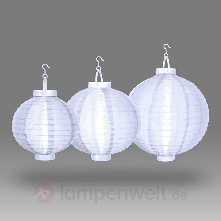 Weiße LED-Lampions Kanae im 3er-Set batteriebetr. sicher & bequem online bestellen bei Lampenwelt.de. - Ab 50,00 € deutschlandweit kostenfreie Lieferung.