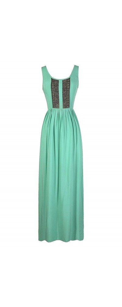 Perfect Trimmings Maxi Dress in Aqua