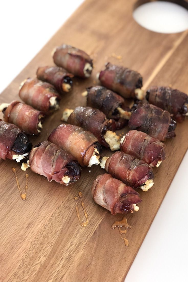 Goat Cheese Stuffed Dates Wrapped in Bacon #stuffeddates #appetizer #recipe #goatcheese