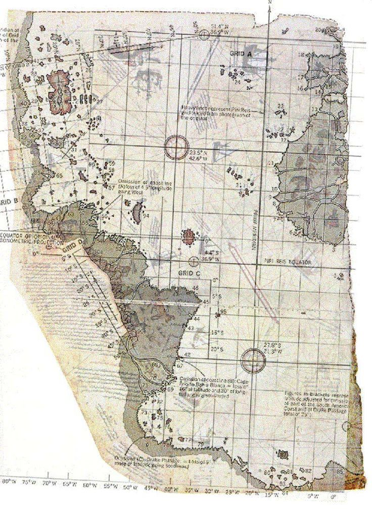 Piri Reis map showing Antarctica long before humanity should have had this info.