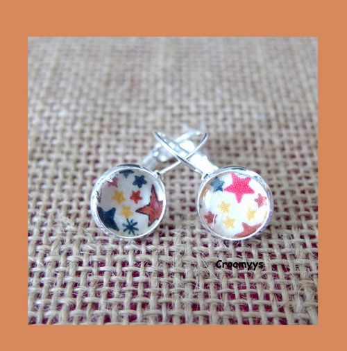 Dormeuses liberty adelajda multicolore 10 mm : Boucles d'oreille par crocmyys