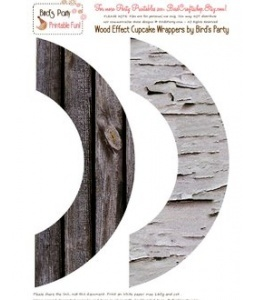 FREEBIES TEMPLATE - Wood effect cupcake wrappers