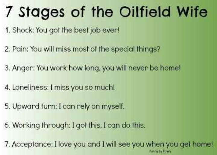 7 Stages of an oilfield wife....so true. Hitch just started so I'm at 4, give me a few days and I'll be back at 5.