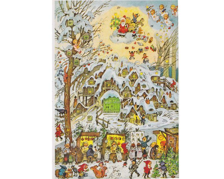Adventskalender Glitter JULMARKNAD VID VINTERHUS