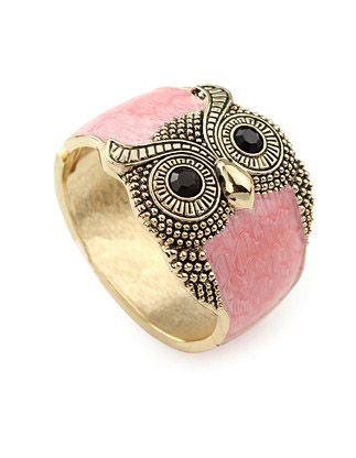Owl Pink Crystal Vintage Bangle.