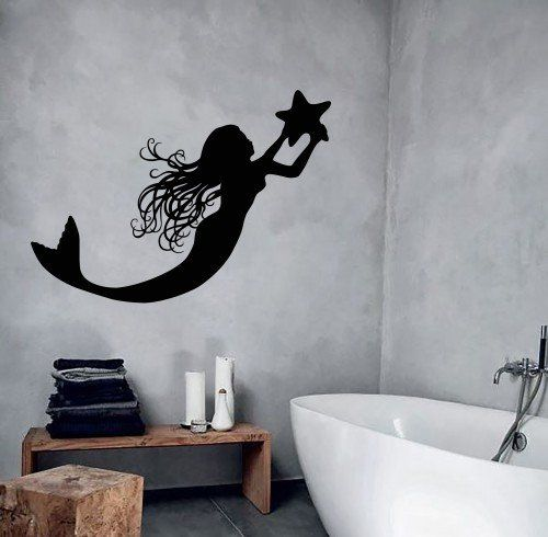 Wall Decal Mermaid Marine Star Girl Room Bathroom Decor Vinyl Stickers (ig2819)
