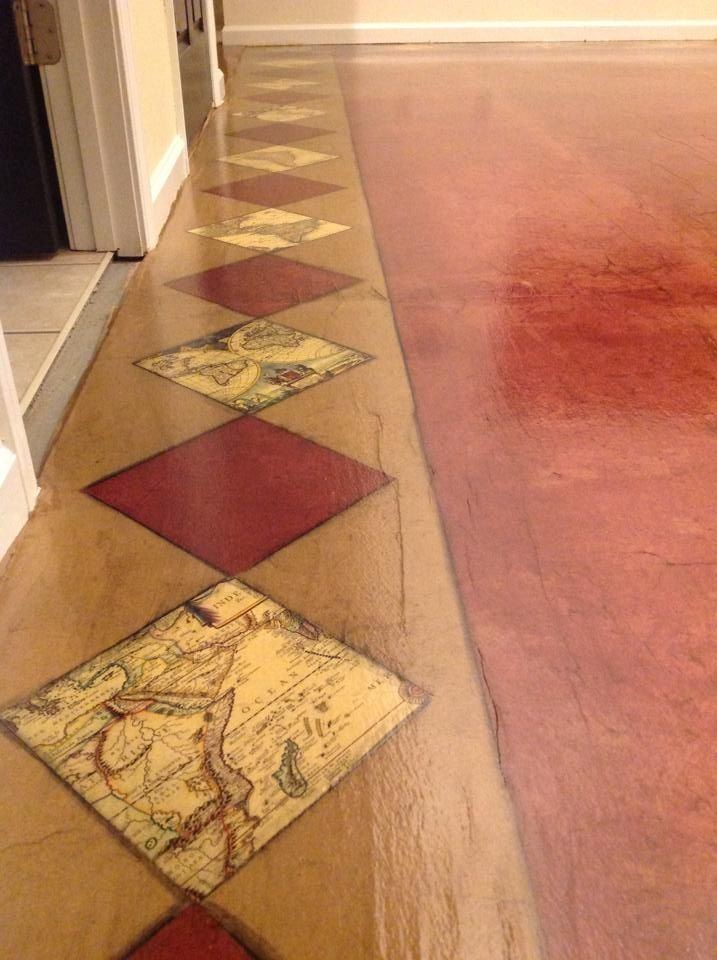 Best 25 paper flooring ideas on pinterest brown bag floors diy garage furniture close up of vintage map border floor done with brown kraft paper stain and solutioingenieria Images