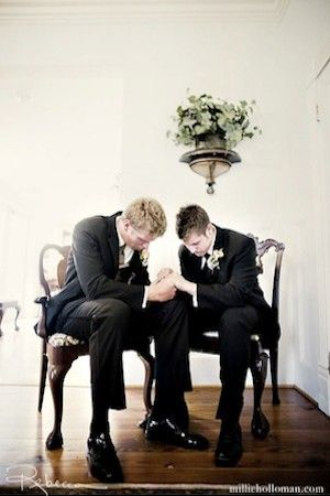 The groom and the best man praying right before he walks to the alter...wow. This would be so neat for Jacob, Steve, and Papaw...three generations.