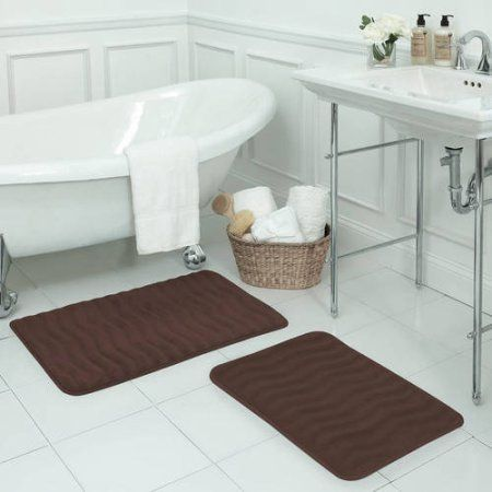 Bounce Comfort Waves Premium Extra-Thick Plush Memory Foam Bath Mat with BounceComfort Technology, Brown