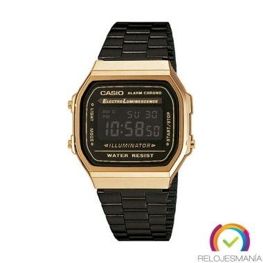 Nuevo reloj Casio negro y dorado A168WEGB-1B