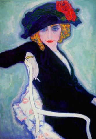 Woman with Cigarette, hat (also known as Portrait of Lisette w Cigarette), 1911 by Leo Gestel (1881-1941, Netherlands)