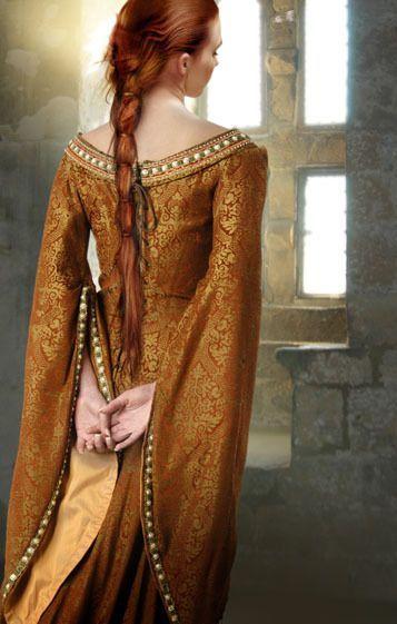 Orange and gold medieval dress