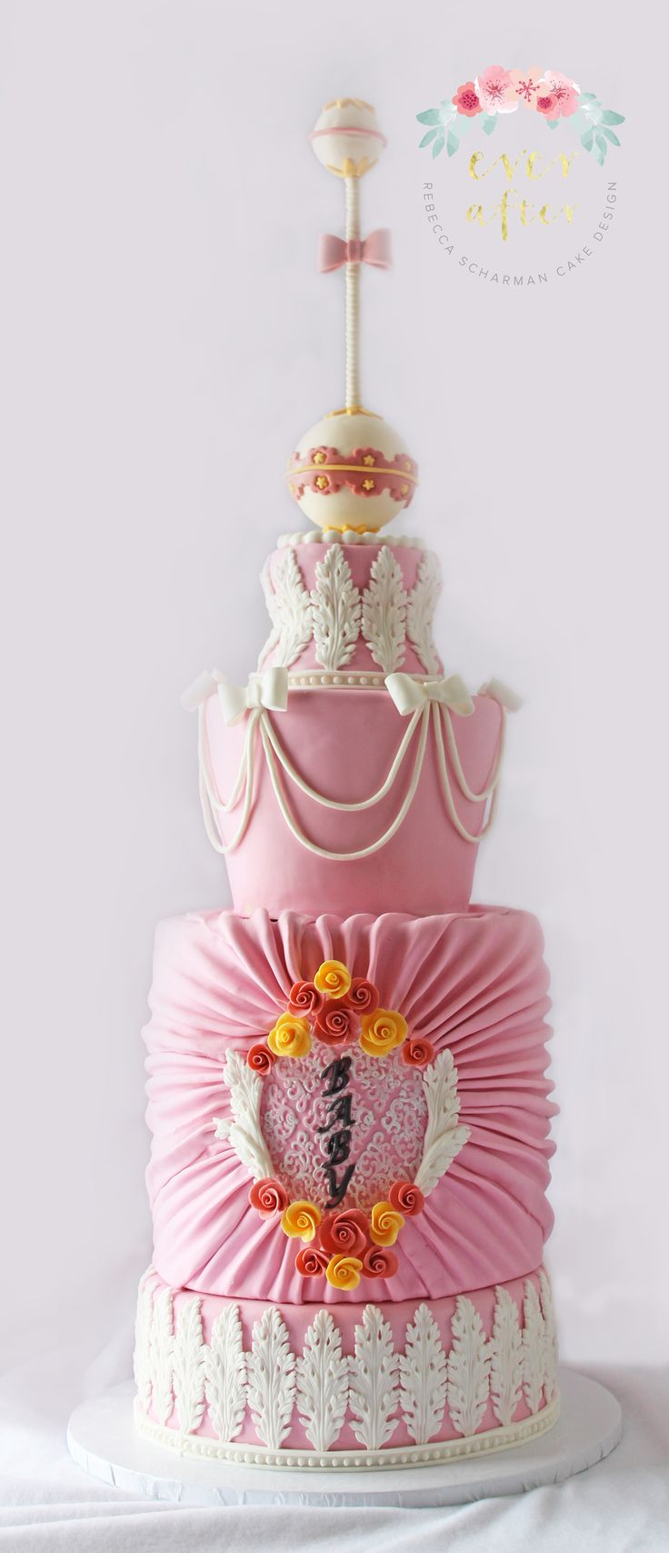 @everaftercake A rococo themed baby shower cake. This was for a very modern baby shower and inspired after one of my favourite cake artists Margaret Braun with the baby rattle topper.