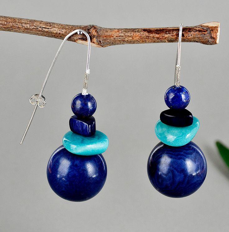 Navy earrings, blue tagua earrings, silver drop earrings, navy turquoise jewelry, long round earrings, fair trade jewelry, gift under 25 by ColorLatinoJewelry on Etsy