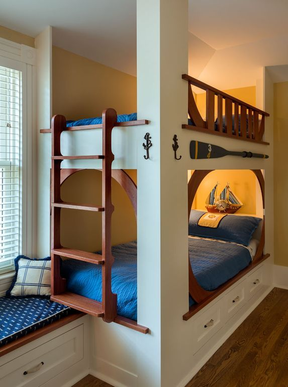 Craftsman Kids Bedroom with Bunk beds, Hand Scraped Distressed Palmero Hickory 5 in. Click Lock Hardwood Flooring