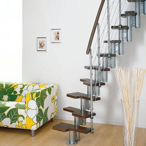 Goedkope instelbare stalen kleine gebogen trap, Ruimtebesparende Mini Line