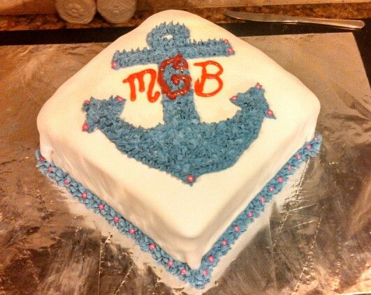 Anchor birthday cake- I'd change the colors and font for sure