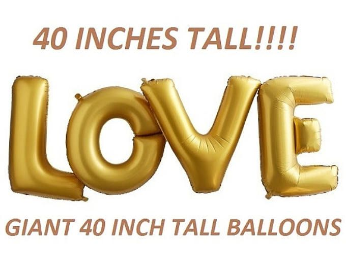 SALE 40 inch LOVE letters balloons GOLD for Bridal Showers ...