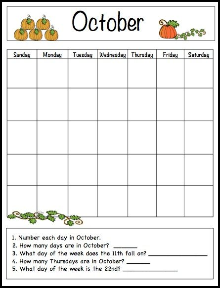 Blank Reading Calendar : October learning calendar template for kids free