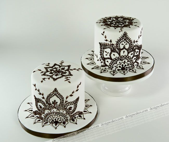 Mehndi Inspired Black And White Mini Cake Decorating Design Ideas