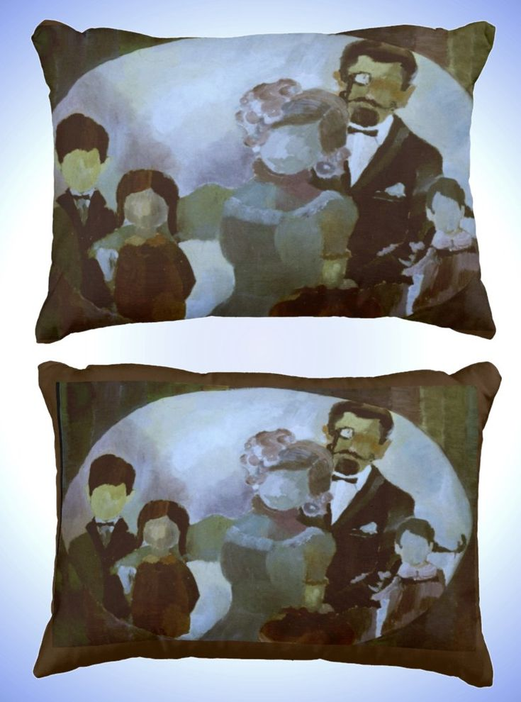 Accent Pillow with Contemporary Art Painting 'Family Portrait'