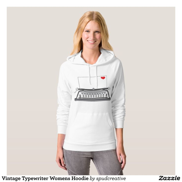 Vintage Typewriter Womens Hoodie - Fashionable Women's Hoodies and Sweatshirts By Creative Talented Graphic Designers - #hoodie #sweatshirt #pullover #fashion #apparel #clothes #clothing #design #designer #fashiondesigner #style #trends #bargain #sale #shopping - A modern take on a classic style the Women's American Apparel California Fleece Pullover Hoodie is made of 100% extra soft ring-spun combed cotton - Extra thick for added warmth - this fleece hoodie is super breathable and very…