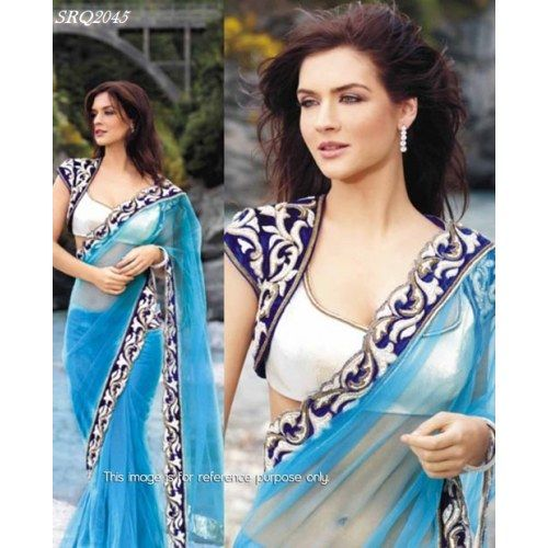 PARTY WEAR WEDDING Bollywood Replica Exclusive Designer  Butterfly Net Saree SARI BLOUSE PETTICOAT