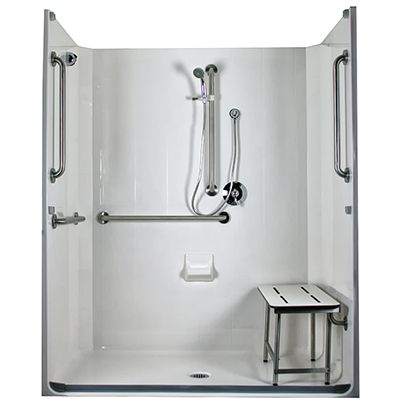 Model 5LES6331A75B ADA Compliant Roll In Shower Place Regular Shower Head  On Wall Opposite Bench.