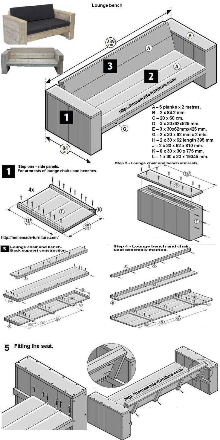 Free construction drawings of scaffolding furniture for a home-made garden bench.