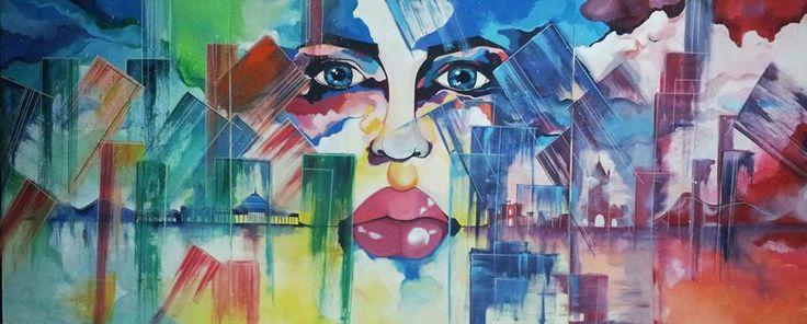 Partenope: Gli occhi della città 240x100 acrilico su tela