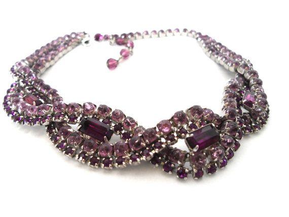 Vintage Lavender and Purple Braided Rhinestone by NowAndThenShop