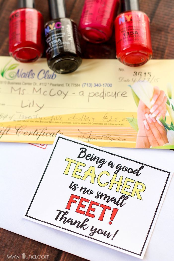 pedicure gift card teacher gift with free tags