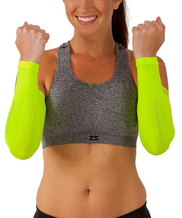 Neon Yellow Reflect Compression Arm Sleeves