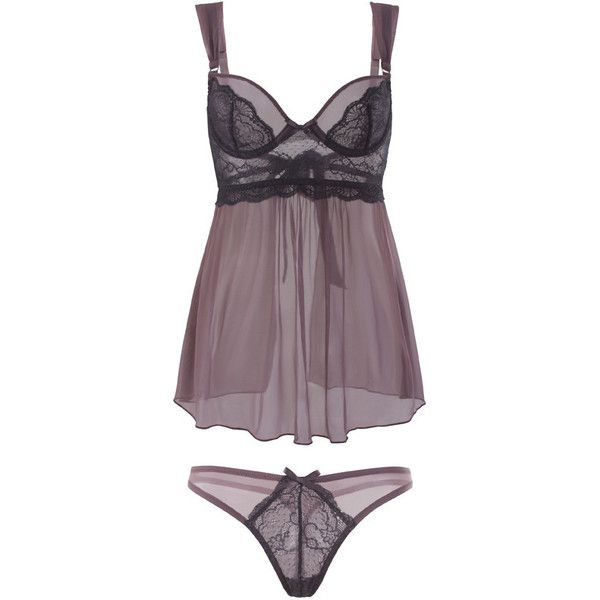 Full Size Black Lace Babydoll and Panty Set ($51) ❤ liked on Polyvore featuring intimates, lingerie, babydoll lingerie, lace babydoll lingerie, lace lingerie, baby doll lingerie and lacy lingerie