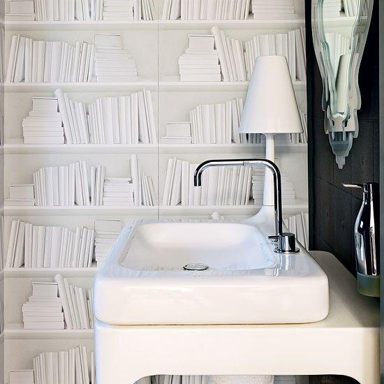 Bookshelf Wallpaper by Y & B - powder room