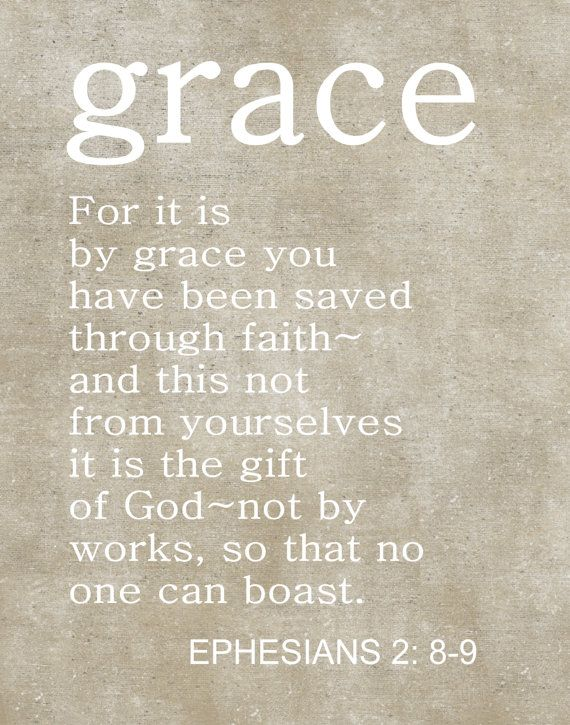 Custom Typography, Christian Art Print, Christian Scripture, Ephesians 2:8-9, Christmas Gift, Grace, Bible Quotes.