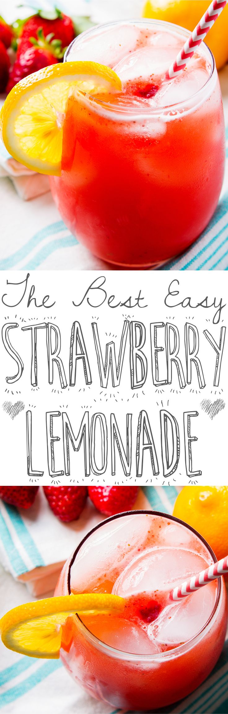 What do you do when life hands you lemons? That's easy – add fresh strawberries and make homemade strawberry lemonade! I make this with fresh strawberries and meyer lemons and it's a quick, easy recipe that's very welcome on a hot day. All you need are a few minutes and a blender – it's so easy to make that you could totally whip this up to cool off after mowing the lawn – and if that's not incentive to do yard work, I don't know what is.