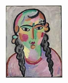 Alexej von Jawlensky (1864-1941) Das blasse Mädchen mit grauen Zopfen Price realised  USD 1,807,500 Estimate USD 1,000,000 - USD 1,500,000