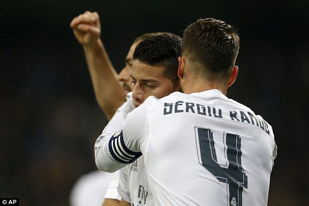 Ramos congratulates James Rodriguez after the Colombian scored in Real Madrid's 6-0 win over Espanyol