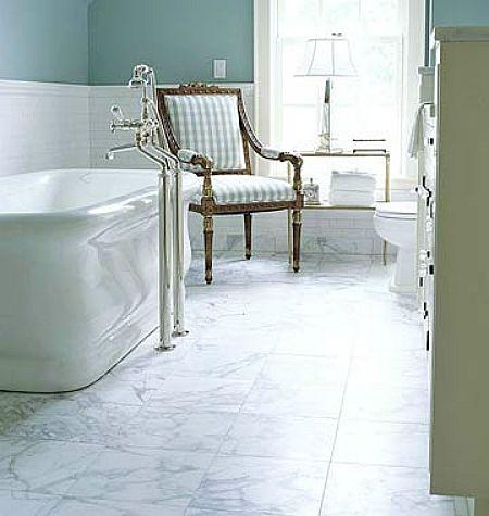White marble floor bathrooms aqua walls and white subway - Marble look bathroom floor tiles ...