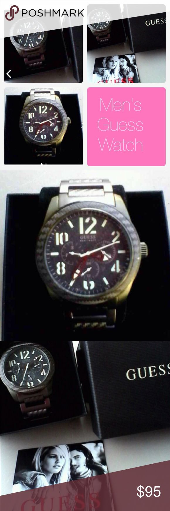 🆕Men's Guess Watch Gunmetal tone Men's Guess Watch, this watch has glow in the dark numbers and hands. This watch is new never used. Guess Accessories Watches